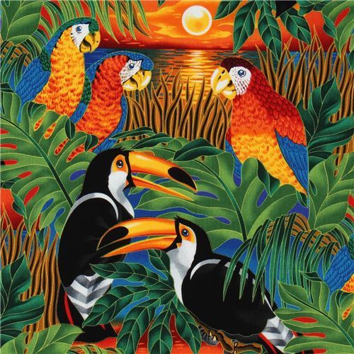 colorful tropical birds parrot fabric Robert Kaufman