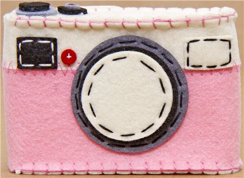 felt funny pink camera case from Japan