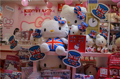 London is calling: Hello Kitty in a British designs, maybe in anticipation of the Olympic Games?