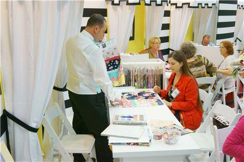 Ben shows Sandra the latest Michael Miller fabrics