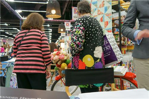 We also saw a woman at the Alexander Henry booth wearing a cute shirt made with echino fabrics