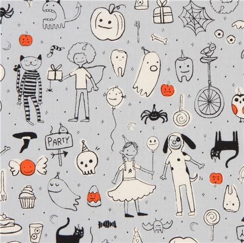 grey fabric with Halloween costume party fabric by Cotton and Steel