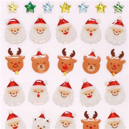 cute Christmas reindeer face glitter stickers from Japan