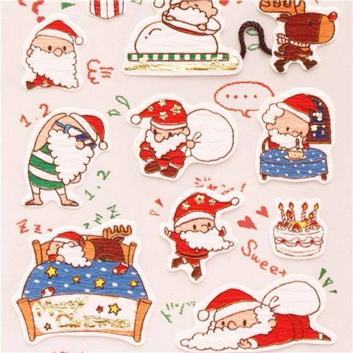 cute Santa Claus reindeer snowman metallic stickers from Japan