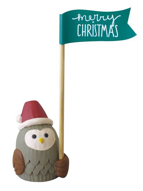 owl with Santa hat and stick flag figurine Japan