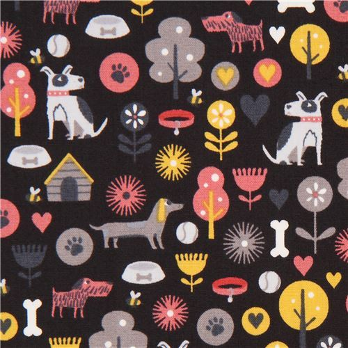 black with dog animal flower tree fabric by Andover