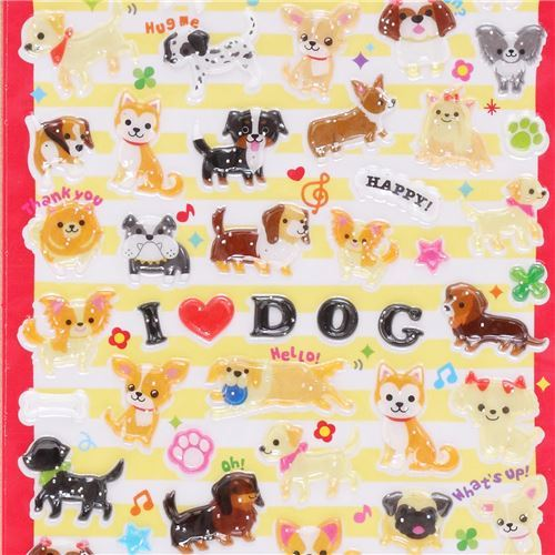 cute hard 3D glitter stickers with colorful dog Japan