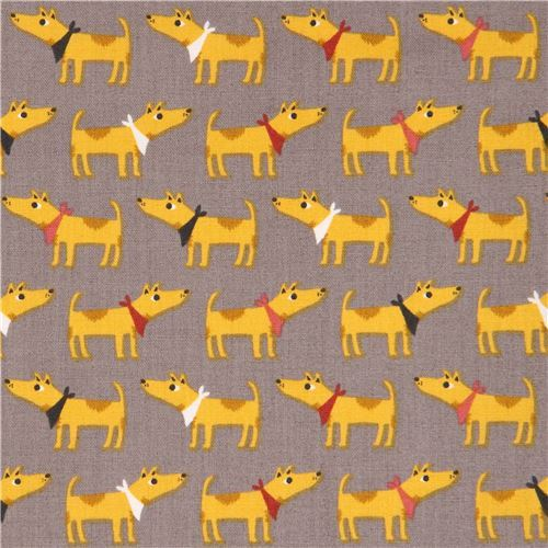 taupe with mustard yellow dog animal fabric by Andover