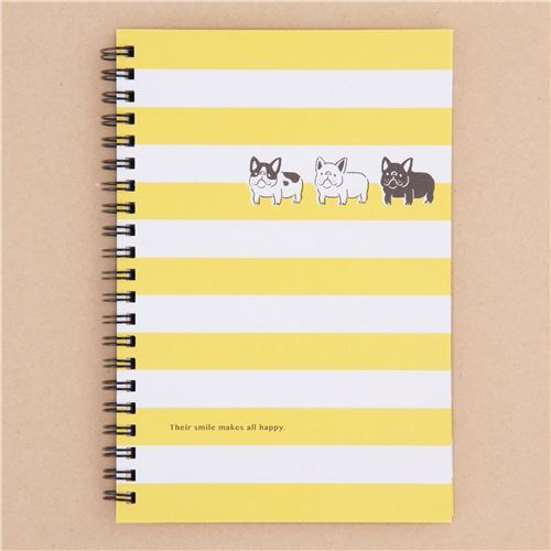 white yellow stripe dog animal ring binder notebook