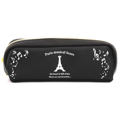 black kawaii Eiffel Tower music note pencil case by Kamio from Japan