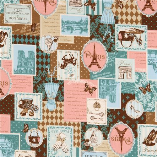 colorful fabric cute pattern item Eiffel Tower from Japan