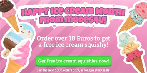 It's Ice Cream Month! Get a FREE SQUISHY with your order! 1