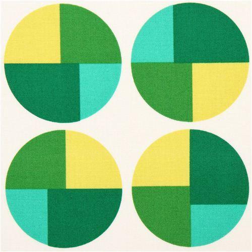 beige Geo Pop green circle canvas fabric Robert Kaufman USA