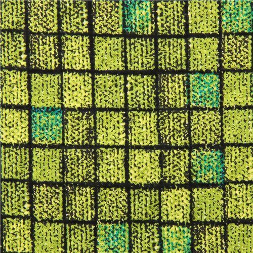 green fabric with square design Michael Miller