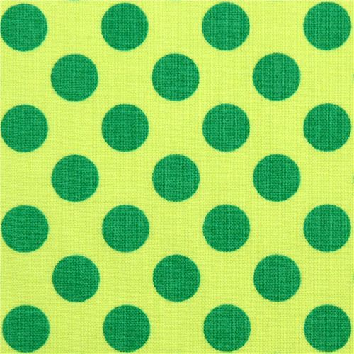 light green Michael Miller fabric Ta Dot with green dots