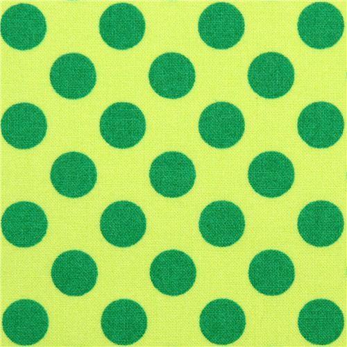 light green Michael Miller fabric Ta Dot with green dots
