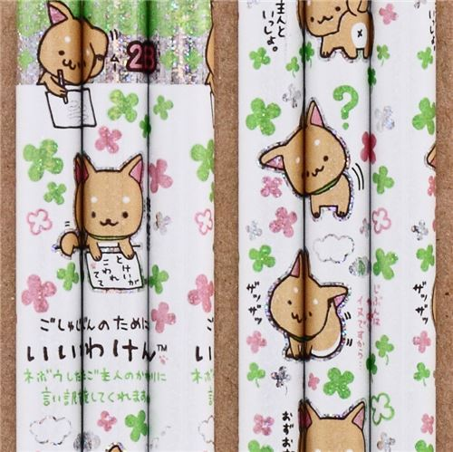 white Iiwaken dog pencil clover glitter San-X