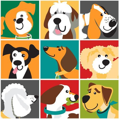 colorful dog square fabric by StudioE 'Dog Park'