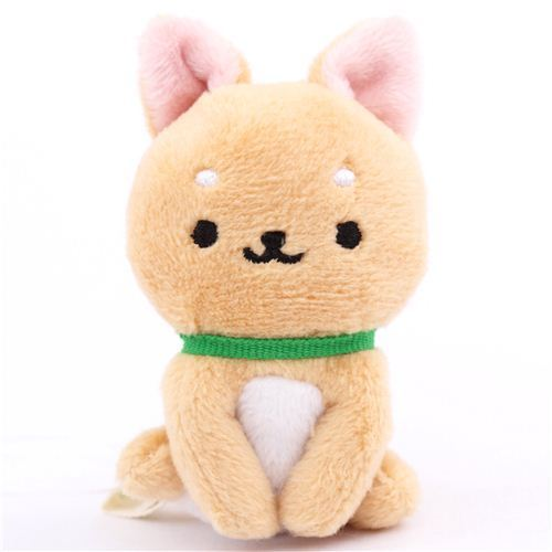 cute small beige Iiwaken dog plush toy with collar sitting