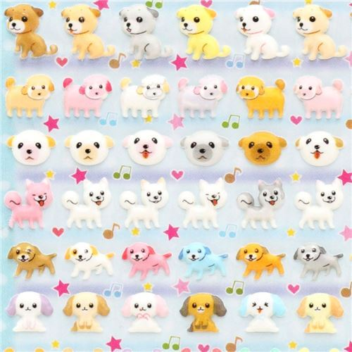 kawaii mini dog puppy animal sponge stickers
