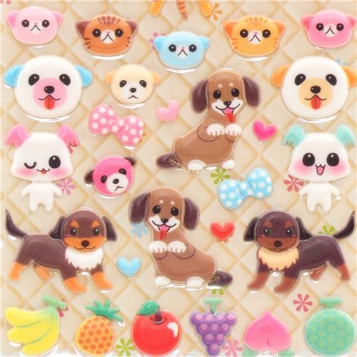 kawaii sponge animal stickers cat dog