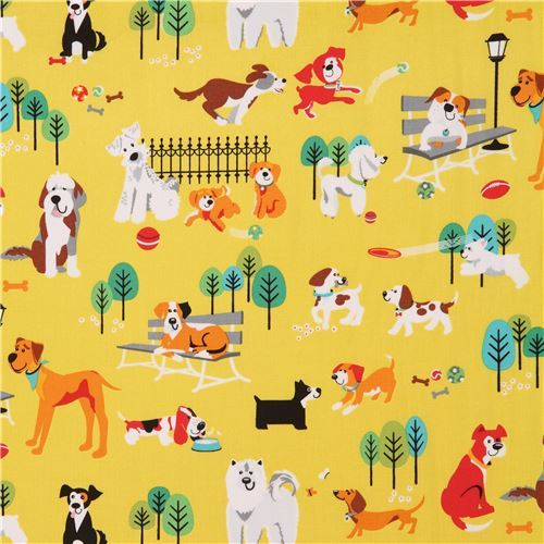 chartreuse colorful dog fabric by StudioE 'Dog Park'