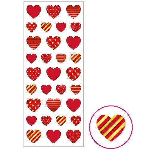 red heart with pattern gold metallic embellishment stickers by Mind Wave