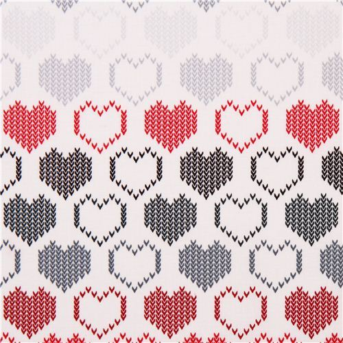 white Timeless Treasures grey knitted hearts fabric from the USA