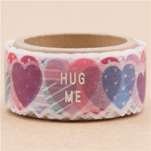 white die-cut cute heart silver metallic deco tape sticky tape by Mind Wave