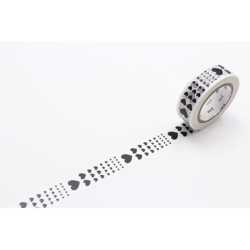white with black heart mt Washi Masking Tape deco tape