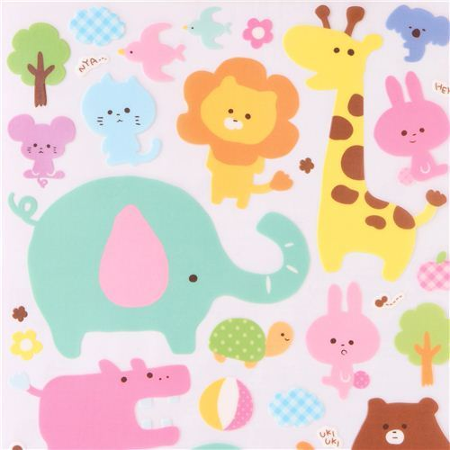 cute zoo animal wall stickers from Japan