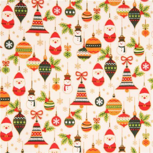 light cream cute santa Christmas ornaments bauble gold metallic fabric