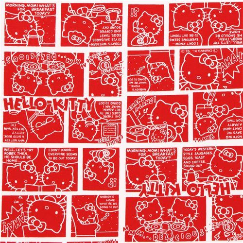 red Hello Kitty comic manga story oxford fabric