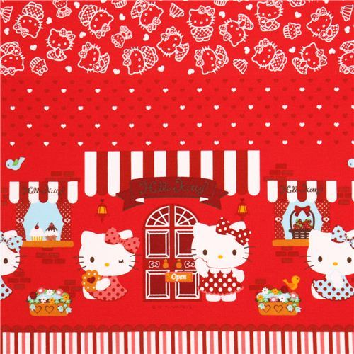 red Hello Kitty sweet food double border oxford fabric