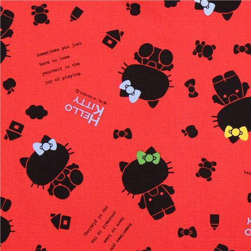 red Japanese shadow Hello Kitty oxford fabric by Sanrio