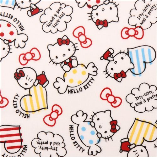 white Hello Kitty sweet heart bow oxford fabric