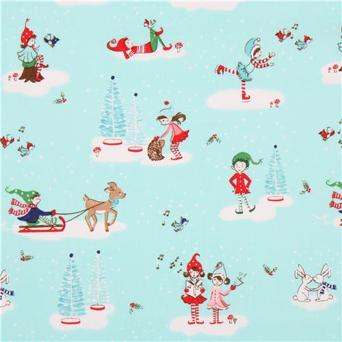 blue Riley Blake fabric children tree bird deer Pixie Noel