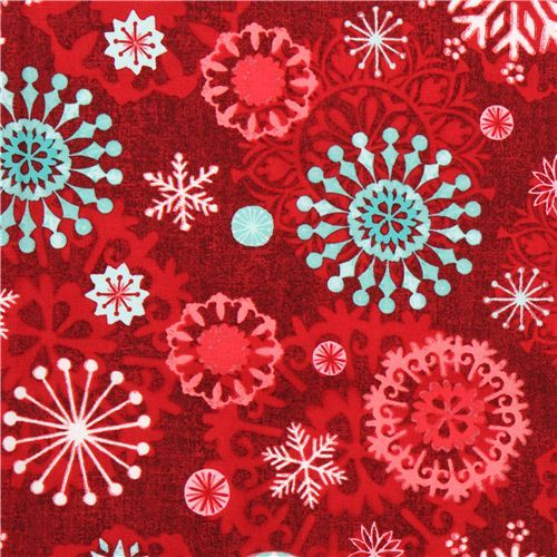 red snowflake Christmas fabric Chalkboard Snowman
