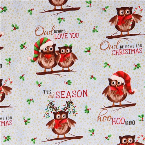 blue owl Christmas glitter fabric Elizabeth's Studio from the USA