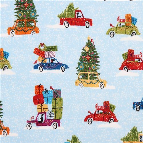 light blue Christmas tree car fabric Andover USA