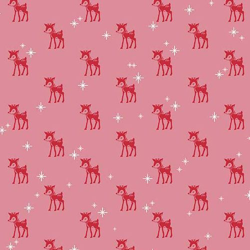 pink Riley Blake fabric small red reindeer white star Cozy Christmas