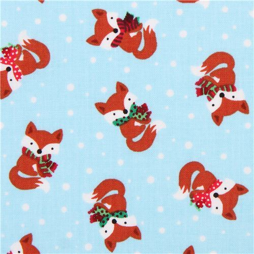 sky blue mini winter fox fabric by Timeless Treasures