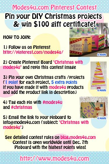 You can win a modes4u.com voucher for 100 USD when you pin your Christmas crafts