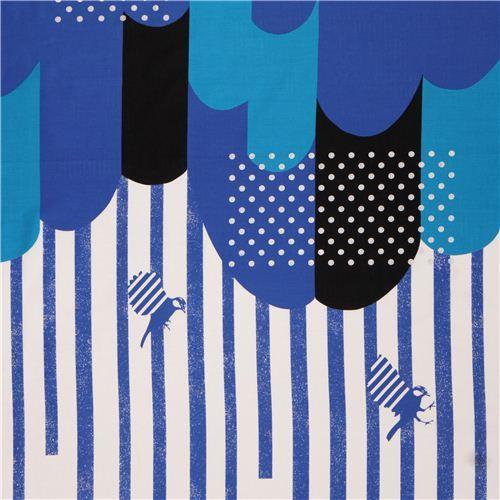 blue black cloud stripes border glitter laminate fabric Kokka