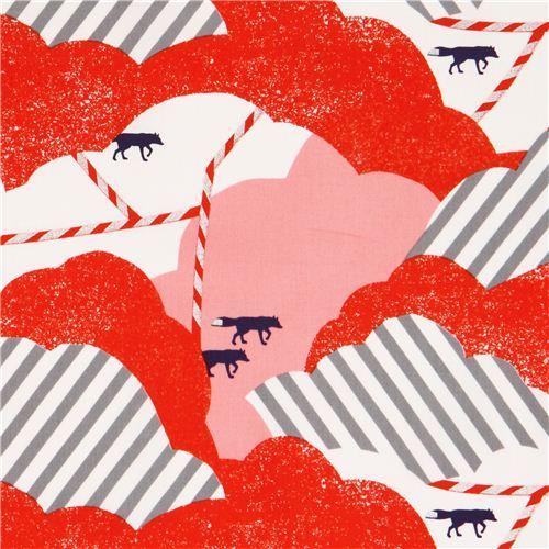 pink red cloud fox cotton sateen glitter laminate fabric Kokka