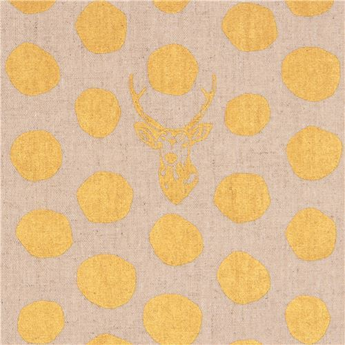 natural color echino fabric stag with gold metallic dots laminate fabric Sambar