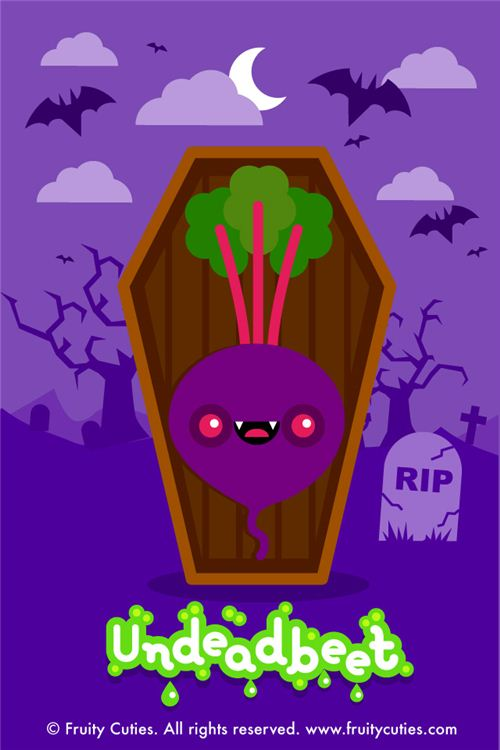 kawaii fruity cuties undead beet Halloween iPhone wallpaper