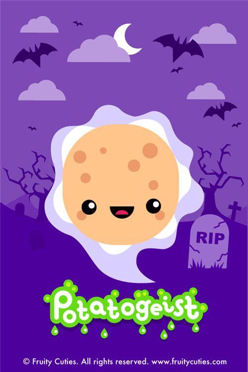 kawaii fruity cuties potato ghost Halloween iPhone wallpaper