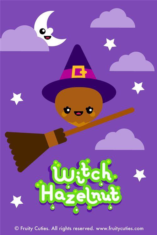 kawaii fruity cuties hazelnut witch Halloween iPhone wallpaper