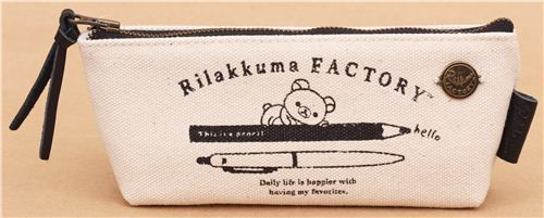 beige Rilakkuma Factory bear pens linen pencil case by San-X